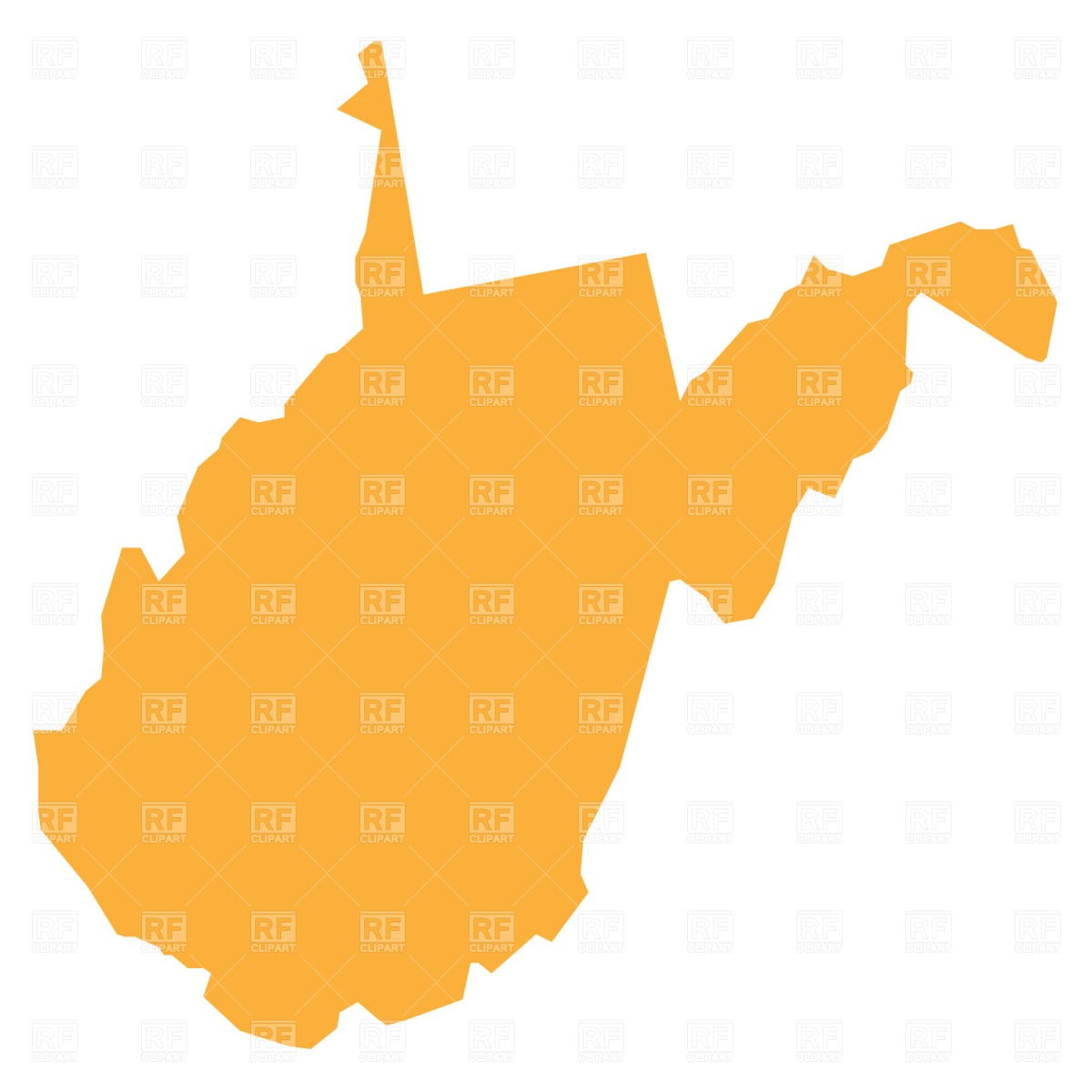 1200x1200 West Virginia State Map Royalty Free Vector Clip Art Image