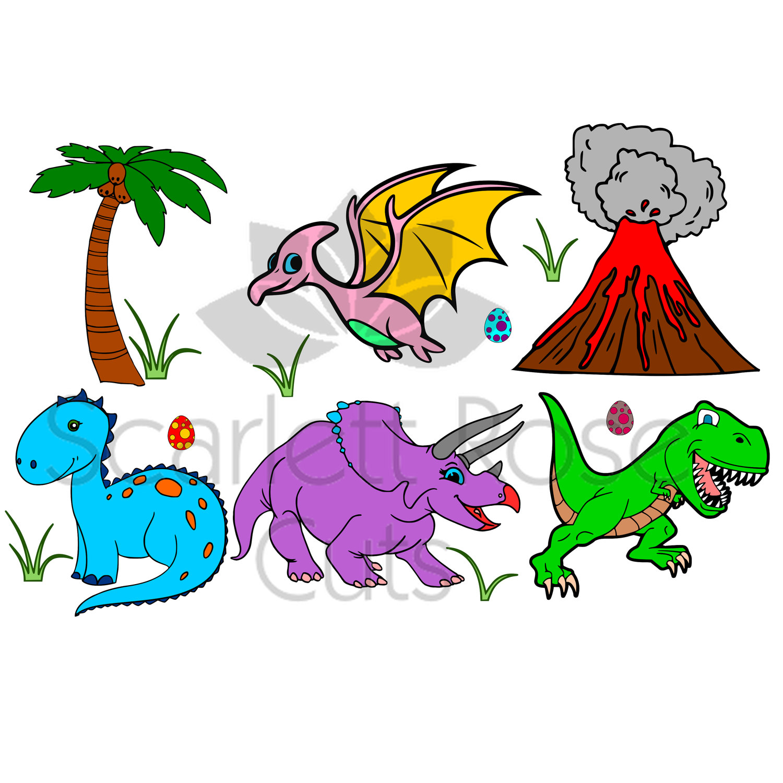 1500x1500 Dinosaur Set Svg Volcano Palm Tree Svg For Silhouette Cameo