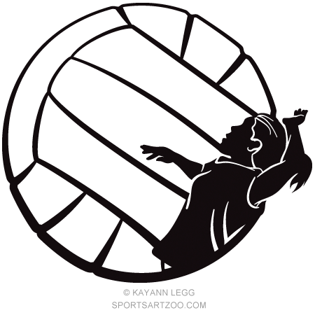 450x450 Silhouette Of A Girl Volleyball Player Spiking In A Stylized