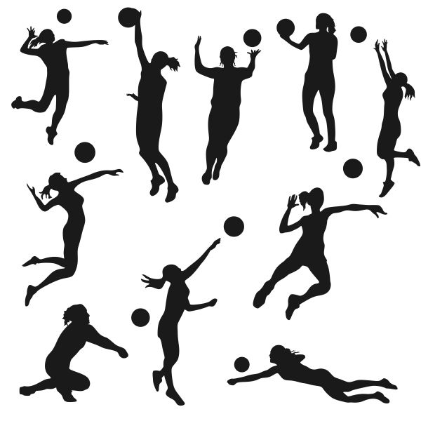 600x600 Volleyball Silhouette Cuttable Designs Gift Crafts