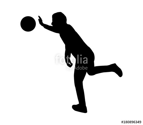 500x438 Volleyball Player Silhouette On White Background Stock Image