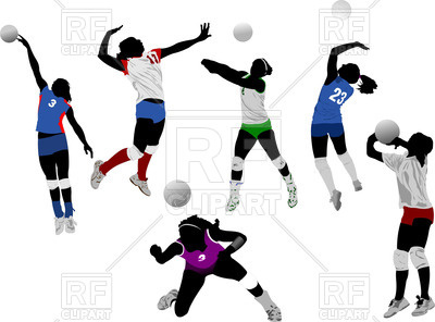 400x296 Set Of Colorful Silhouettes Of Volleyball Women Players Royalty