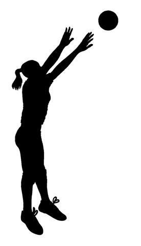 276x480 Volleyball Setter Silhouette (Black 6) Die Cut White