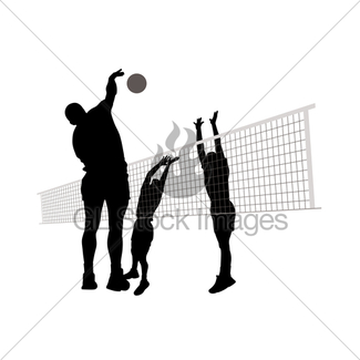 325x325 Volleyball Female Silhouettes In Athletic Poses Gl Stock Images