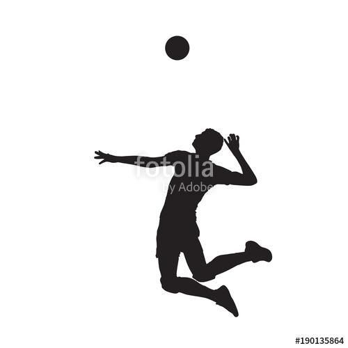 500x500 Volleyball Player Serving Ball, Abstract Vector Silhouette Stock
