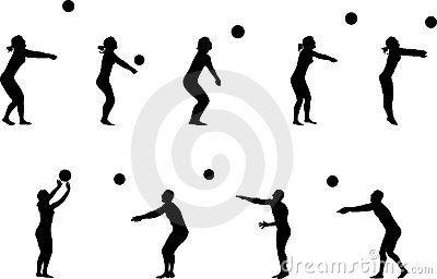 400x256 Volleyball Silhouettes. Siluetas Negras De Jugadores De Voleibol