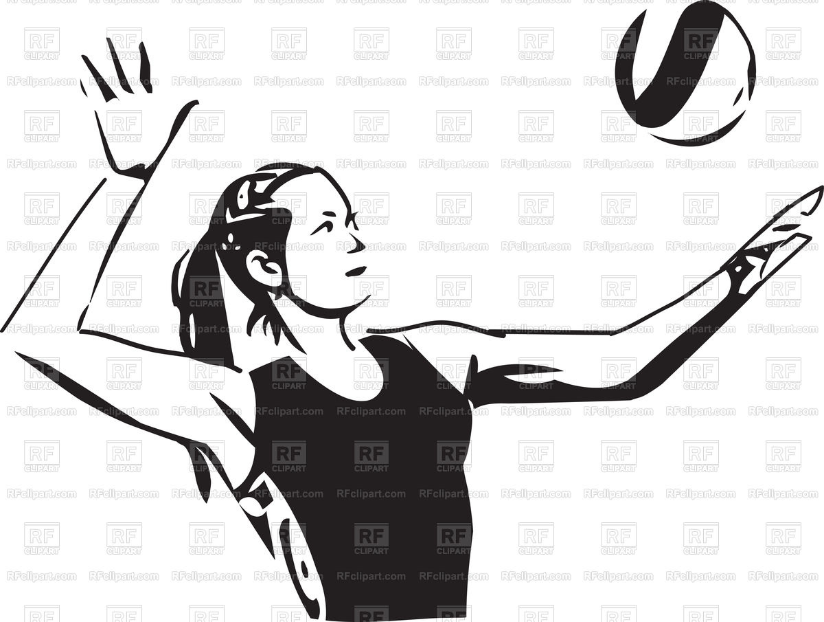 1200x905 Sketch Of Volleyball Player On White Background Royalty Free