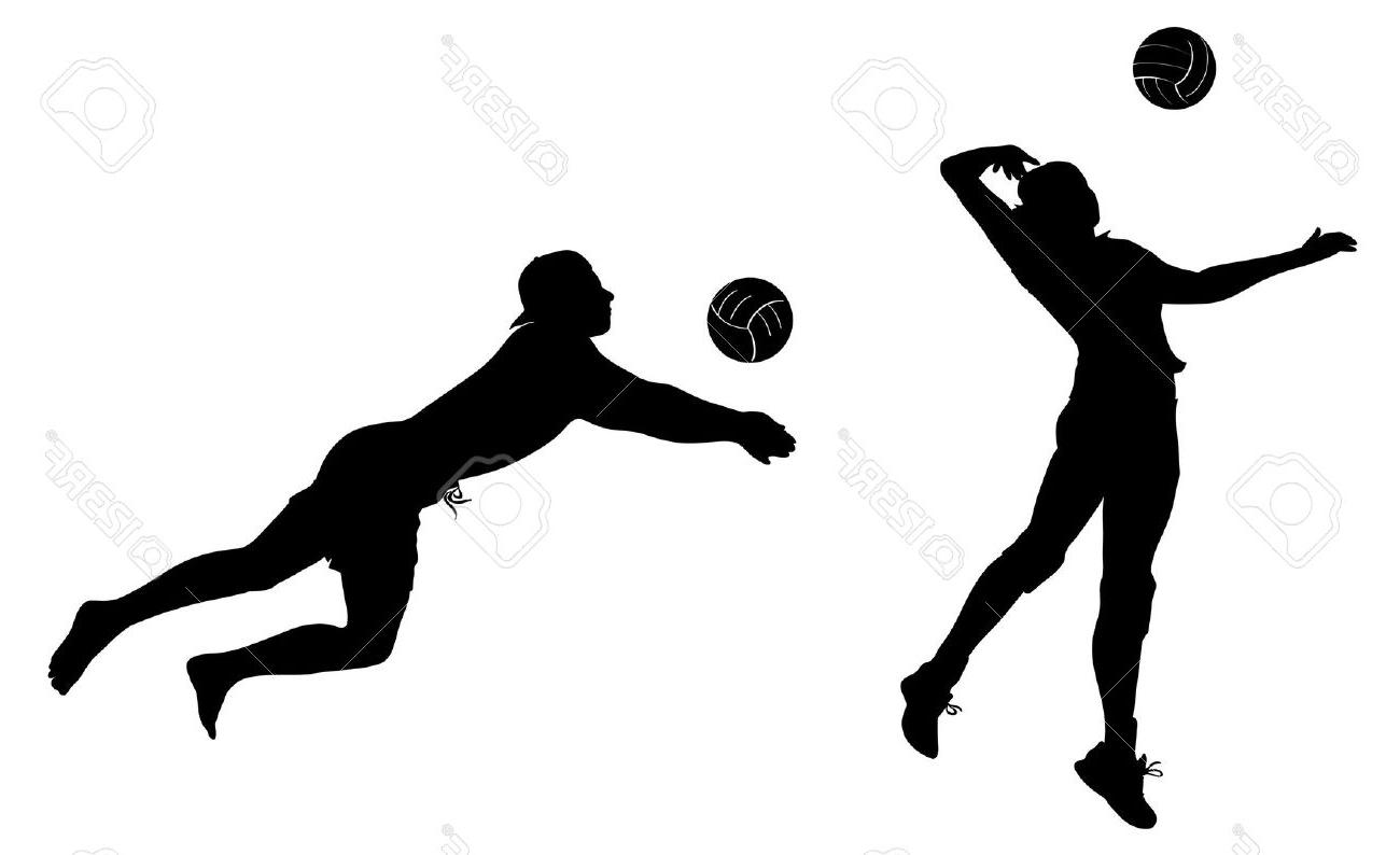 1300x794 Volleyball Player Woman Silhouette Stock Vector Miceking