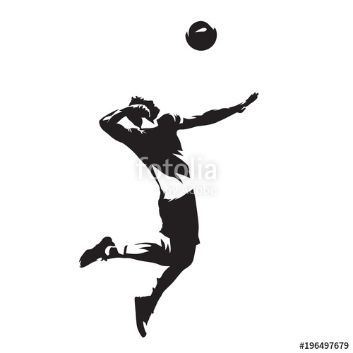 500x500 Volleyball Player Serving Ball, Isolated Vector Silhouette. Side