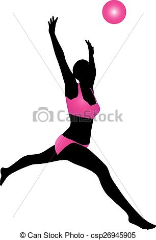 306x470 Volleyball Silhouette. A Silhoutte Of A Woman Jumping To Hit