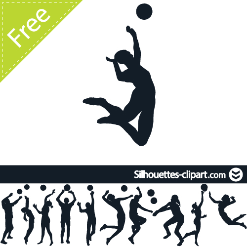 500x500 Volleyball Player Silhouettes Volleyball Players