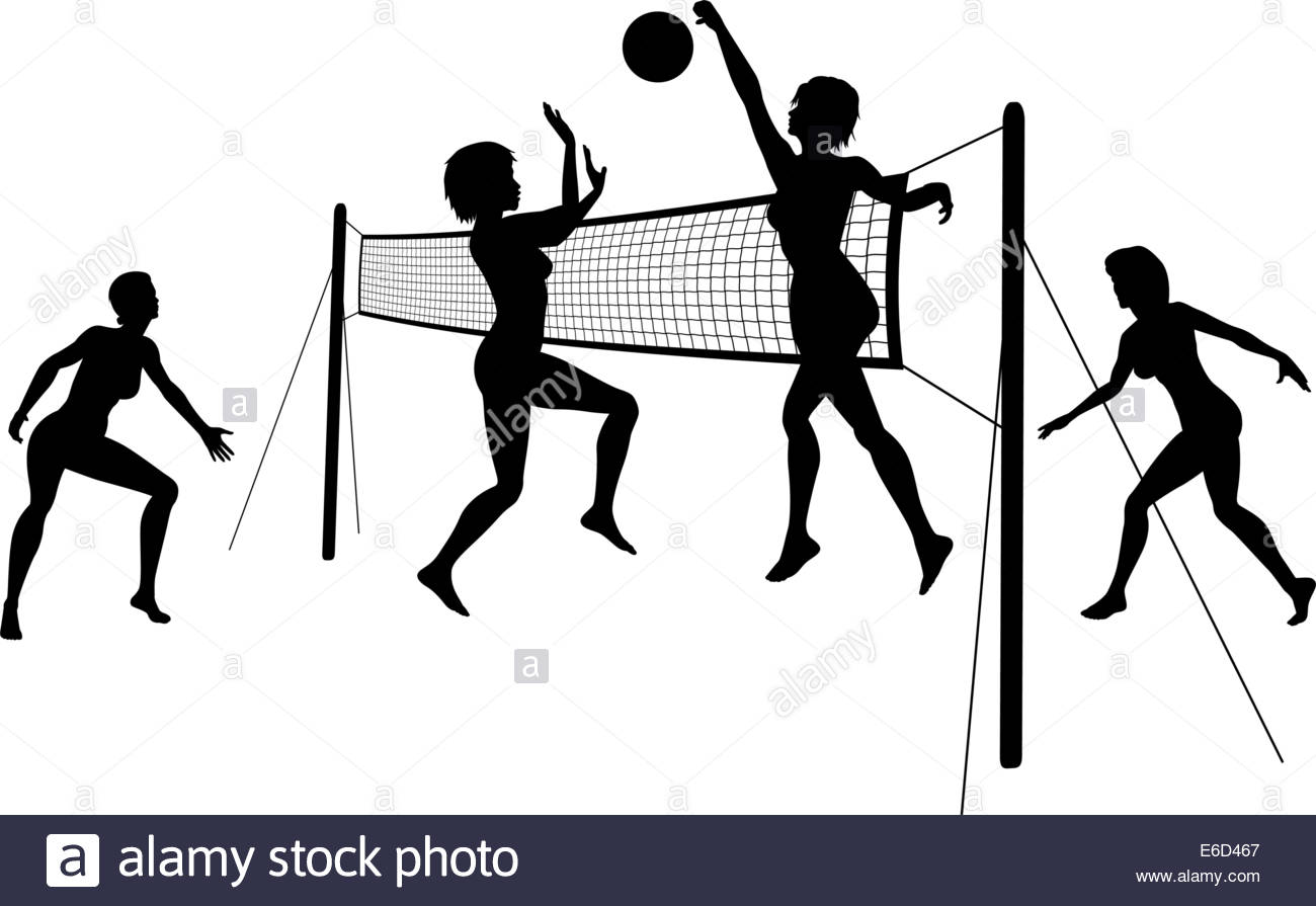 1300x895 Editable Vector Silhouettes Of Women Playing Beach Volleyball