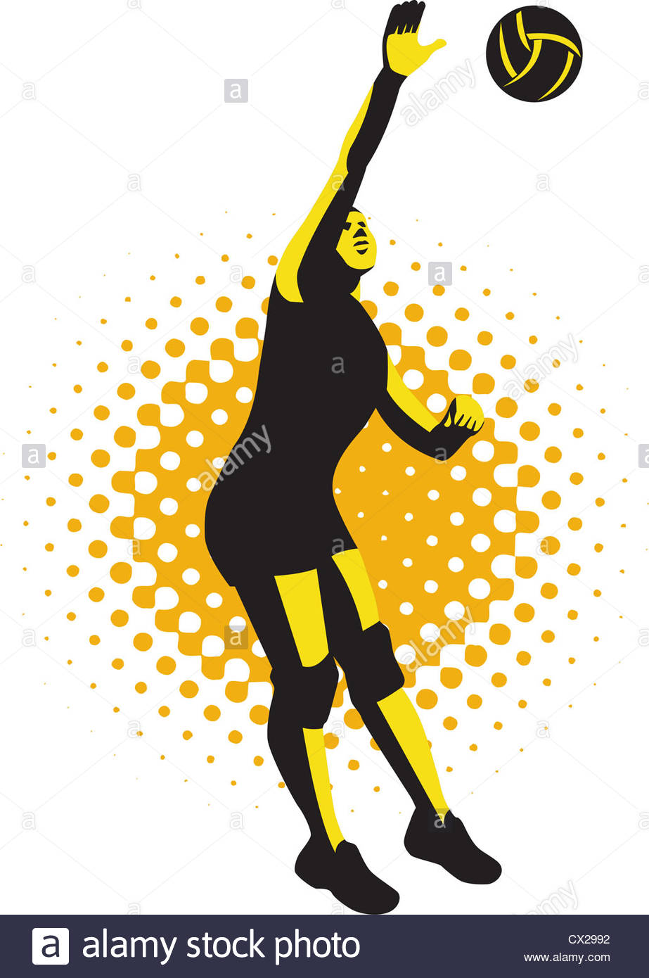 923x1390 Illustration Of A Female Volleyball Player Jumping Spiking Ball