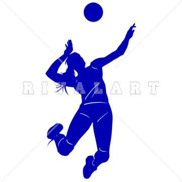 361x361 Sports Clipart Image Of Girls Beach Volleyball Player Spiking
