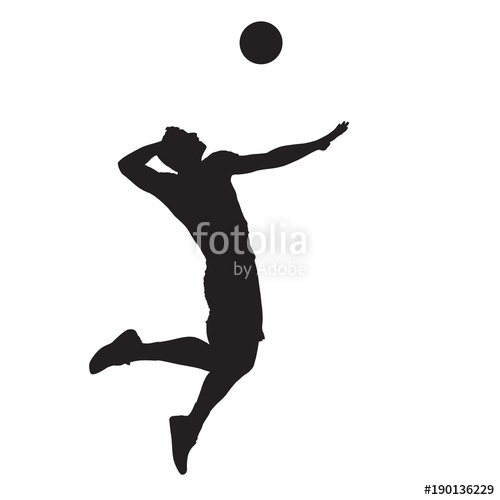 500x500 Volleyball Player Spiking Ball, Isolated Vector Silhouette. Side