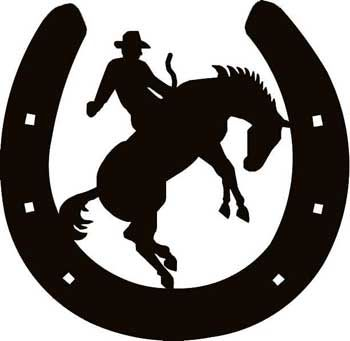 350x341 Tinkerbell Silhouette Horseshoe W Cowboy 2 Decal