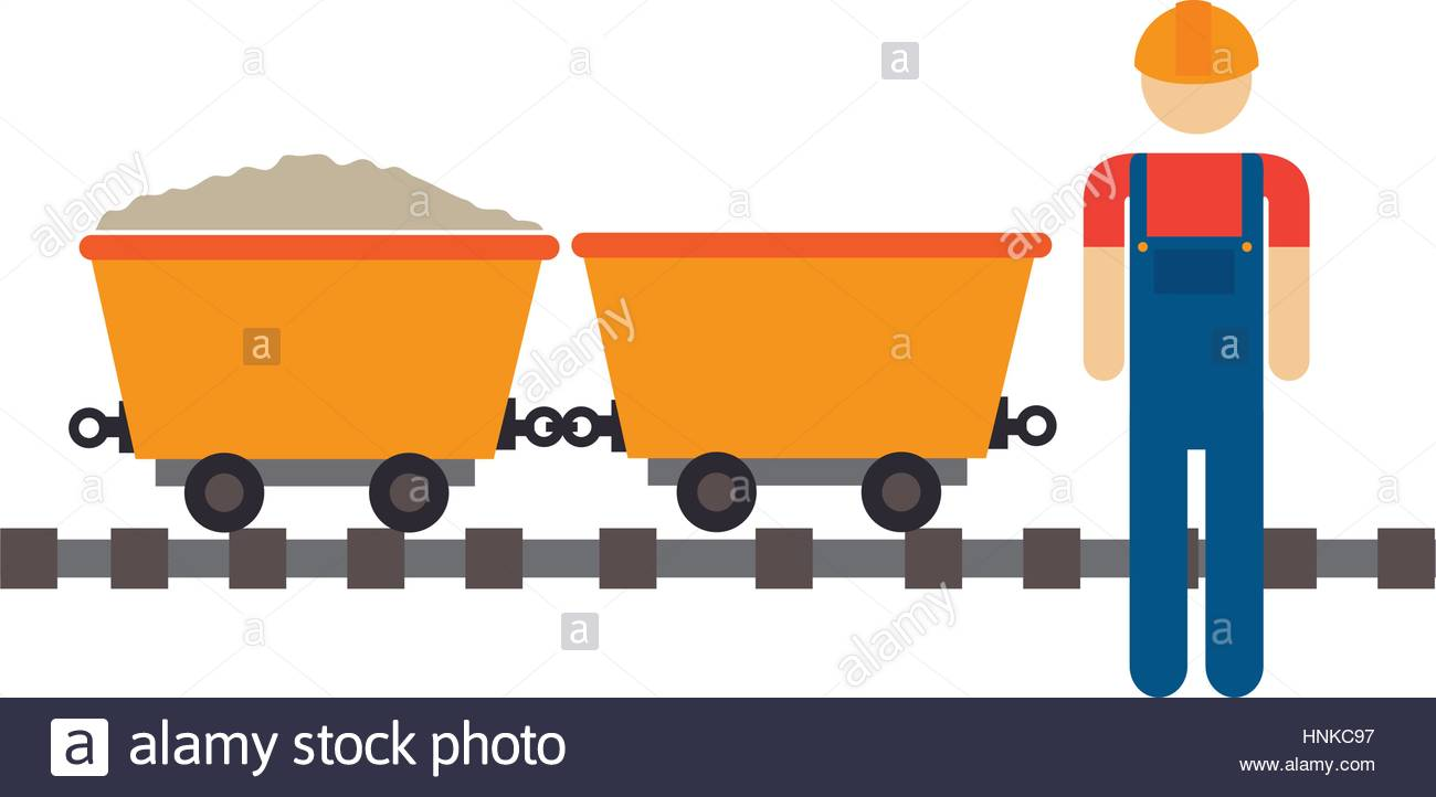 1300x722 Color Silhouette With Worker And Wagon Of Mining Over Rail Stock