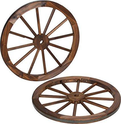 425x436 Decorative Vintage Wood Garden Wagon Wheel With Steel Rim