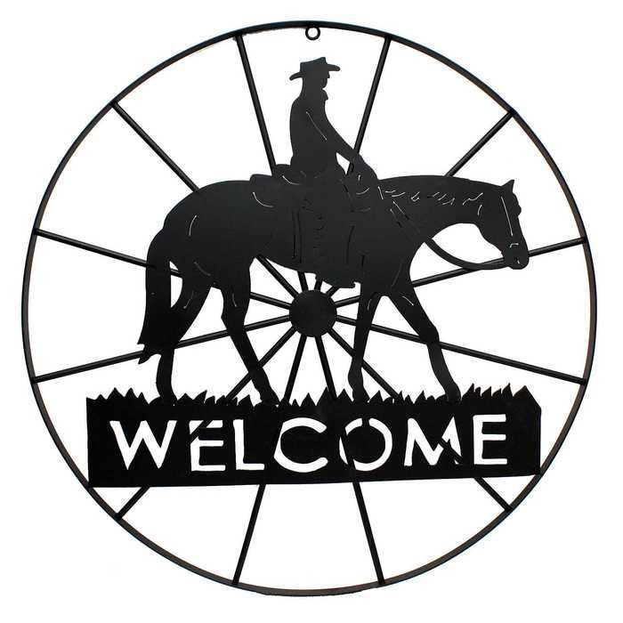 700x700 Metal Welcome Wagon Wheel With Horse Amp Cowboy Mj's Fav'S