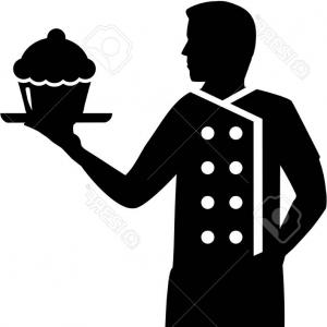 300x300 Stock Illustration Chef Waiter Detail Silhouette Vector Shopatcloth