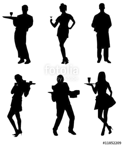 419x500 Waiters Waitresses Silhouette Collection Stock Image