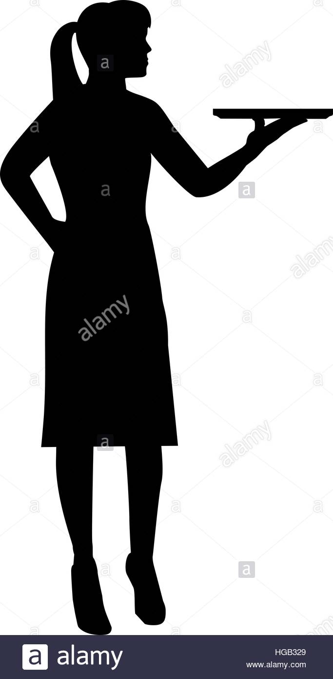 683x1390 Waitress With Plate Silhouette Stock Vector Art Amp Illustration