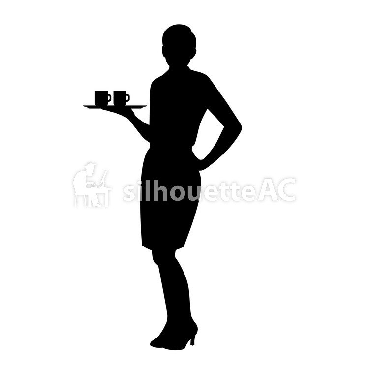 750x750 Free Silhouette Vector An Illustration, Waiter
