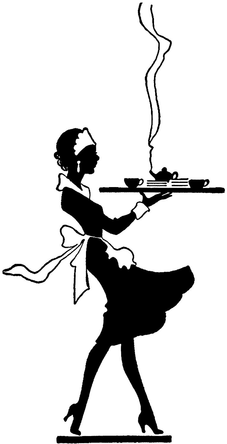 768x1500 Vintage Black And White Waitress Image Vintage Black, Graphics