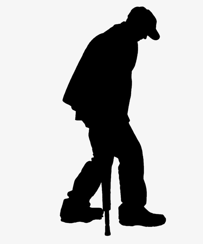 650x781 The Elderly Struggling To Walk On Crutches Silhouette, Sketch