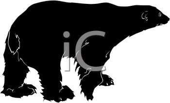 350x213 Picture Of A Silhouette Of A Polar Bear Walking In A Vector Clip