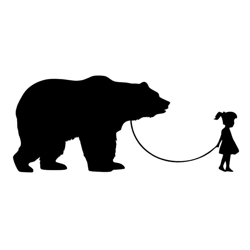 800x800 17.87.6cm Girl Walking A Bear Decorative Animal Car Stickers