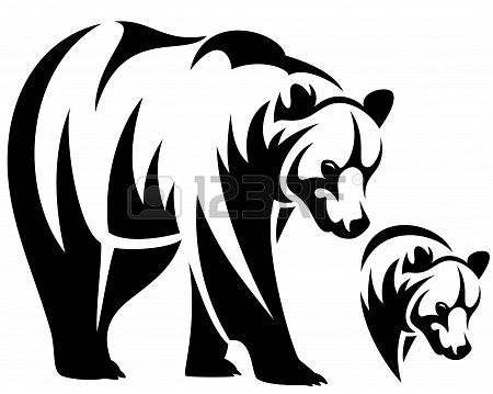 450x359 Walking Bear And Animal Head Black And White Outline Emblem