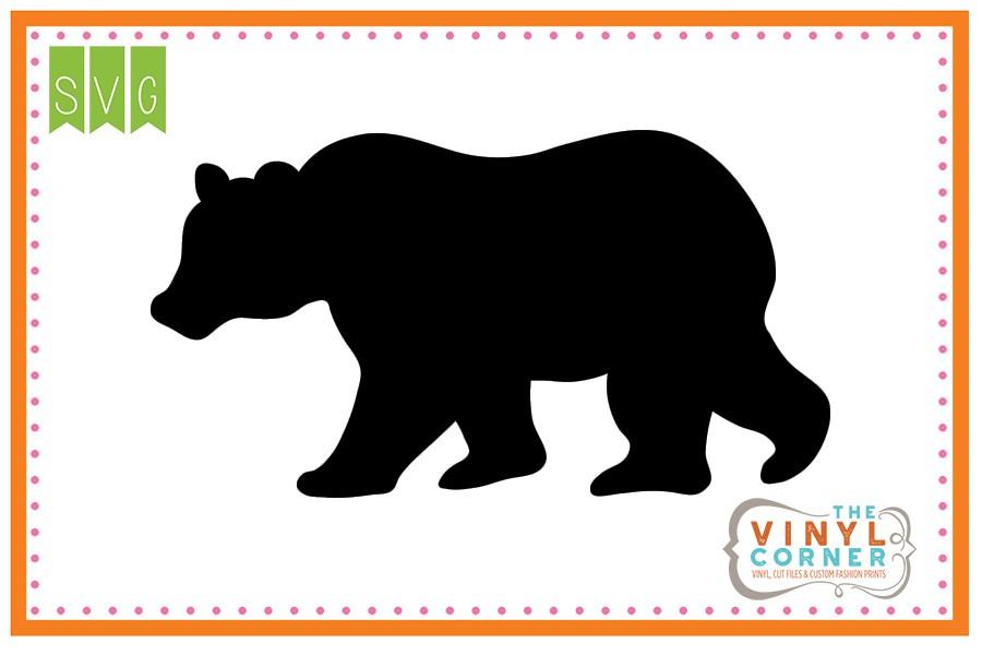 900x600 Applique Corner Bear Walking Silhouette Cuttable Svg Clipart Design