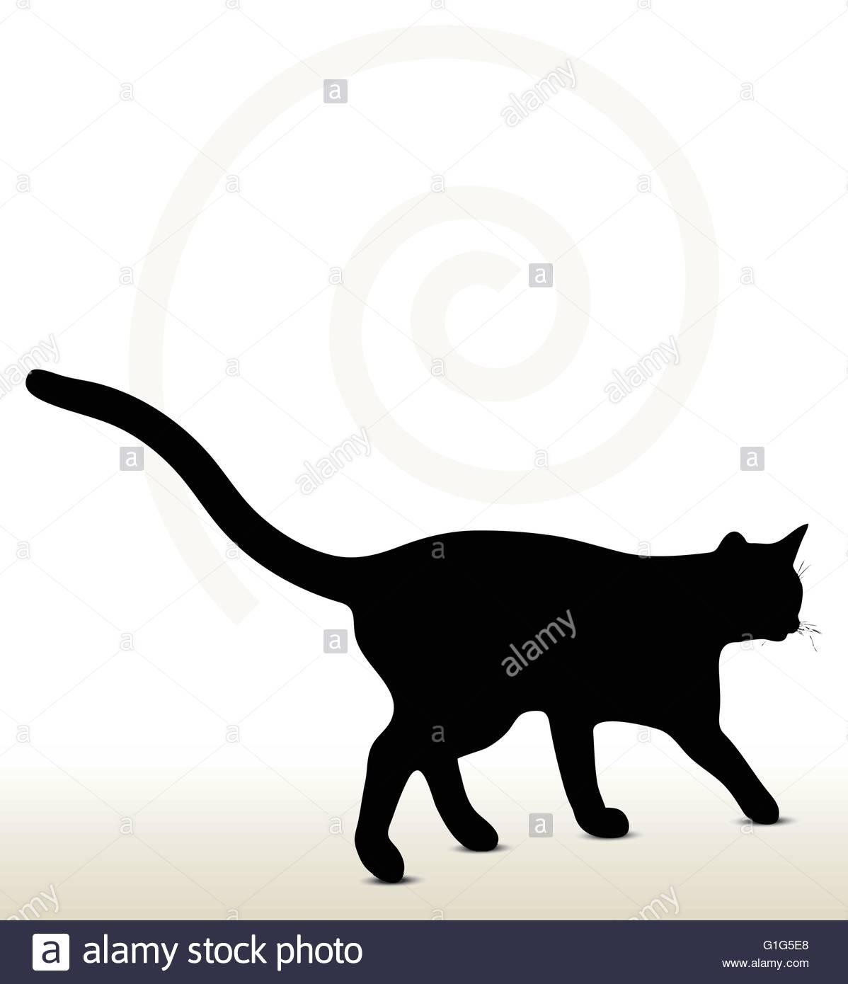 1198x1390 Black Cat Walking Stock Vector Images