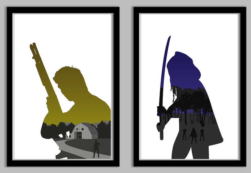 820x567 The Walking Dead Silhouette Poster Set