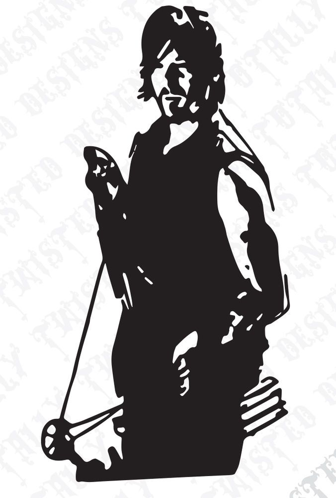 676x1000 The Walking Dead Daryl Dixon With Crossbow Vinyl Car Truck Decal
