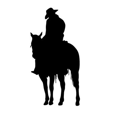 400x400 Man Walking Horse Western Decal 18