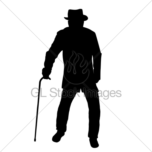 500x500 Old Man Silhouette Gl Stock Images