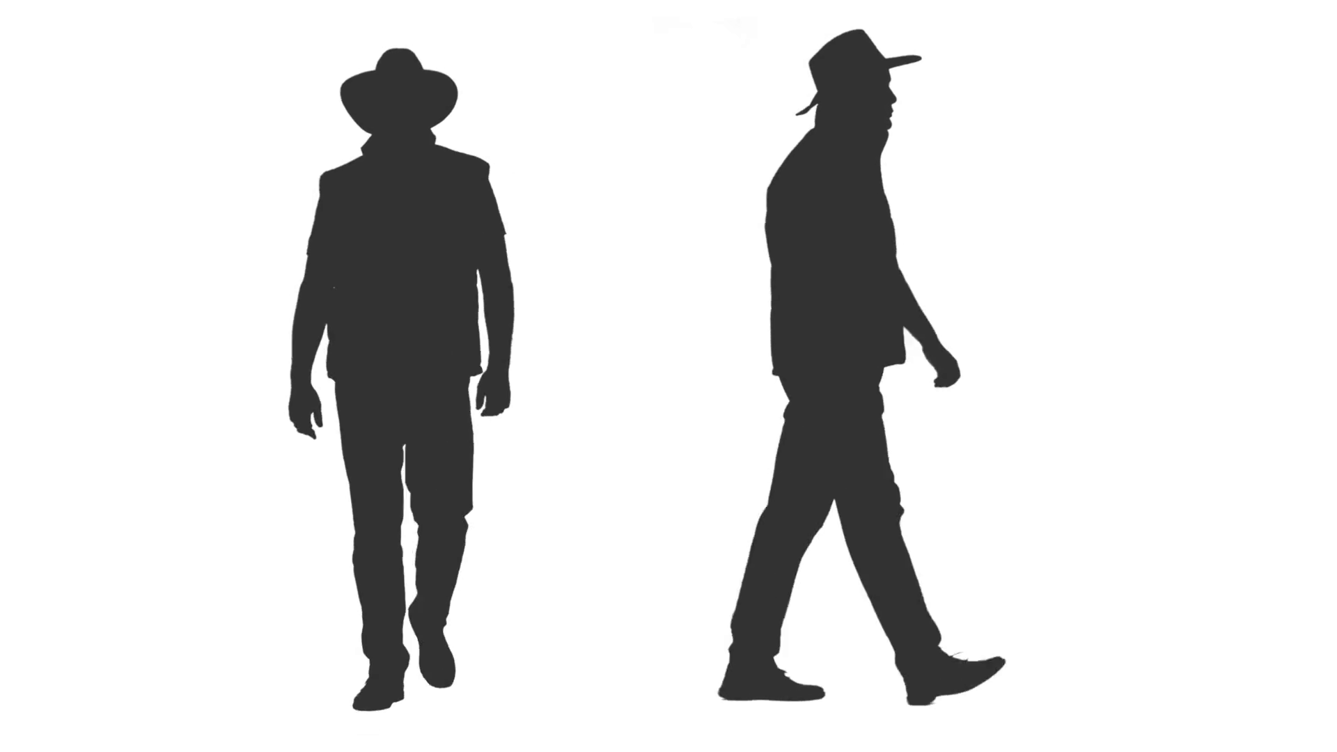 1920x1080 Silhouette Of Walking Man In Jacket And Cowboy Hat, 2 In 1, Alpha
