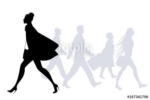 500x334 Fashion Woman Walking In The Street. People Silhouettes Walking