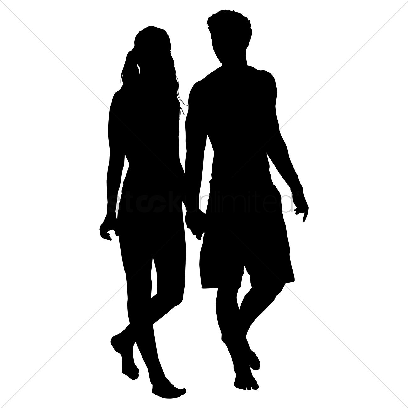 1300x1300 Silhouette Of Couple Walking Together Vector Image