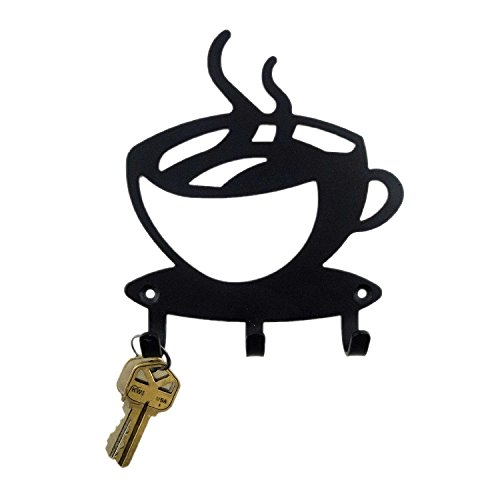 500x500 Black Metal Coffee Cup Silhouette Wall Art Key Holder For Home