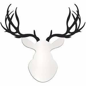 300x300 Contemporary Buck Large White Amp Black Deer Cut Out