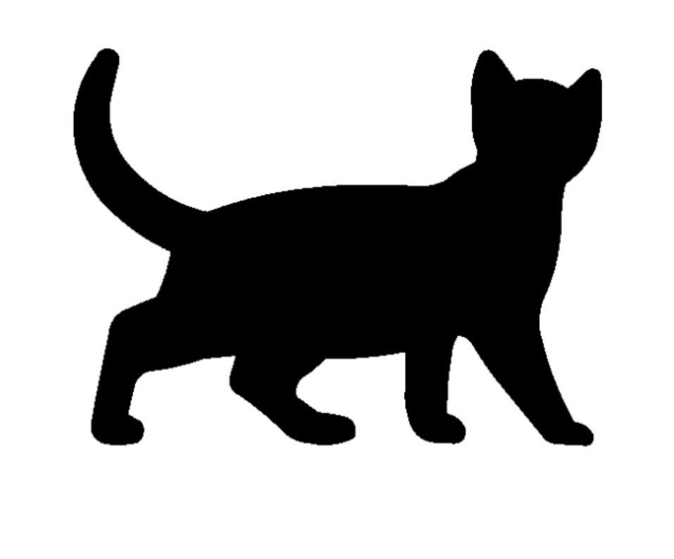 957x793 Cute Cat Wall Art Silhouette Stonerockery