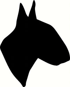 244x300 English Bull Terrier, Wall Car, Sticker, Silhouette, Great Gift