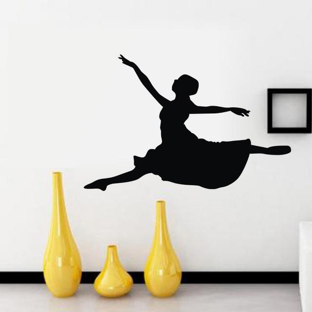 640x640 Ballerina Wall Stickers Girl Dance Silhouette Nursery Wall