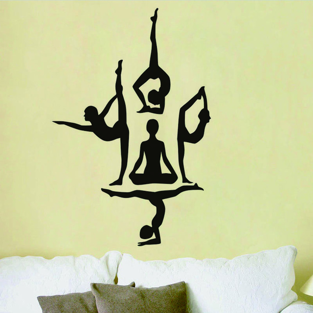 640x640 Yoga Poses Silhouette Vinyl Wall Stickers Sport And Health Theme