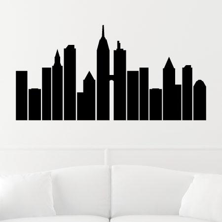 450x450 City Skyline Silhouette Wall Wall Art Decal