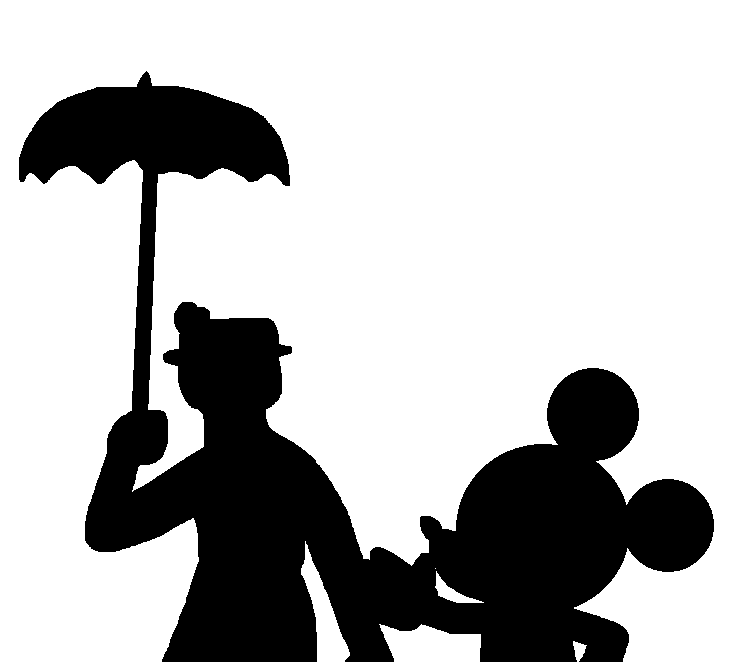 734x662 Mary Poppins And Mickey Mouse Silhouette By Marcospower1996
