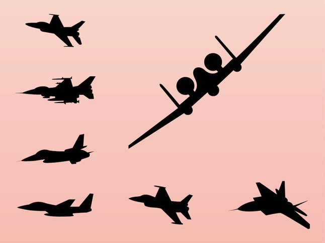 646x484 Silhouette War Airplane Vector Free Download